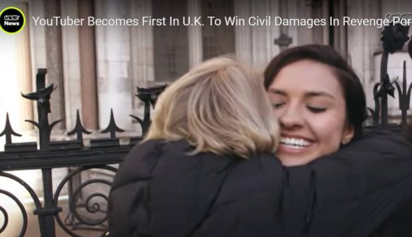 Chrissy Chambers hugging her lawyer Ann Olivarius, after she becomes the first to win revenge porn case in UK.