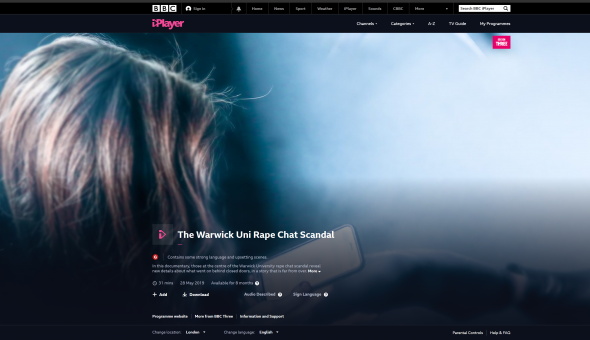 Image of BBC documentary on our clients' experience as victims of Warwick University rape group chat scandal.