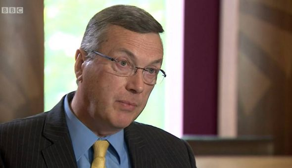 Print screen of Warwick University's vice chancellor Stuart Croft, during his interview with BBC.