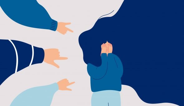 Illustration of fingers pointing at a sad girl, which gives idea of a student traumatised by sexual misconduct.