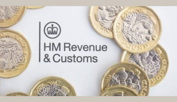 "Image of one pound coins, and words that say ""HM Revenue & Customs""."