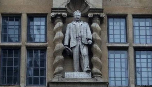 Photo of Cecil Rhodes' statue at Oxford University.