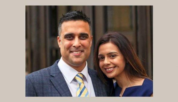 Photo of Reena and Sandeep Mander both smiling.