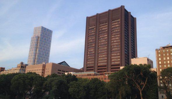 Photo of Icahn School of Medicine in the New York City skyline.