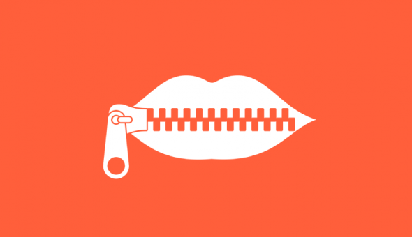 Image of lips being zipped which implies unable to speak.