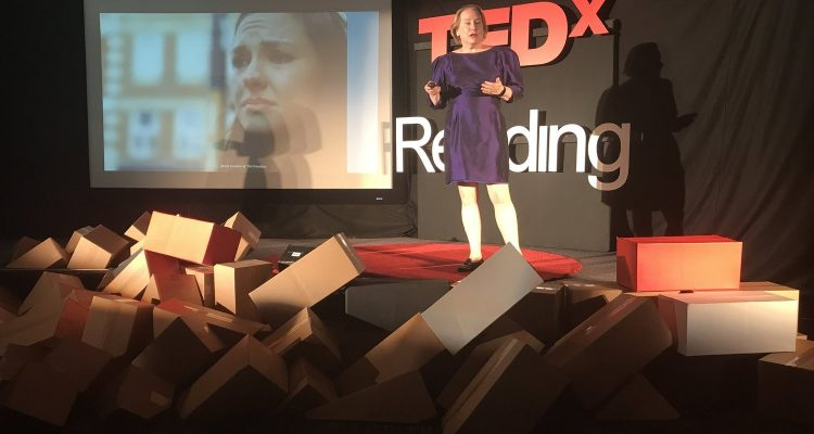 Photo of Dr Olivarius speaking on the topic of revenge porn at TEDxReading