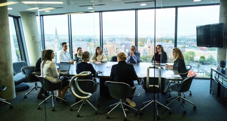 Photo of a lawyers' meeting at McAllister Olivarius Maidenhead office.