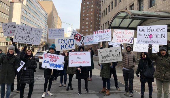 Protesters outside Mount Sinai hospital, New York.
