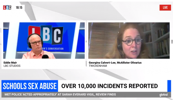Screenshot image from Georgina Calvert-Lee video interview with Eddie Mair on LBC radio.