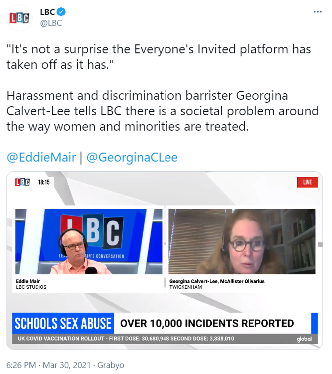 Tweet by LBC containing video with Georgina Calvert-Lee - click to watch live interview.