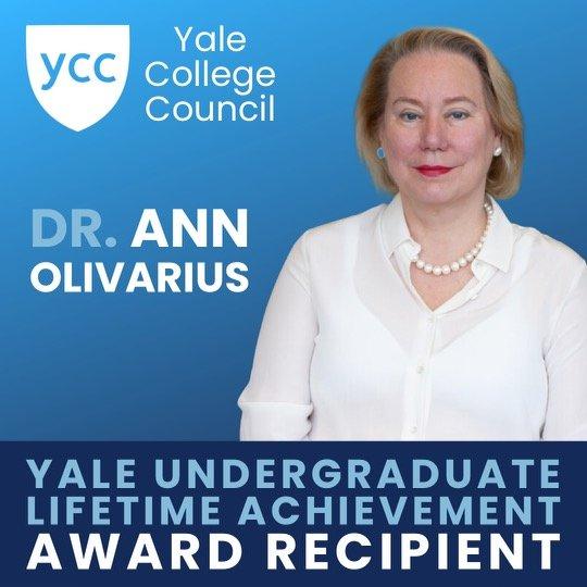 Graphic announcing Dr. Olivarius receipt of Yale Undergraduate Lifetime Achievement Award.