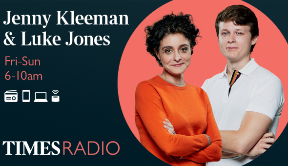 Promotional graphic for Jenny Kleeman's and Luke Jones' show on Times Radio Breakfast.