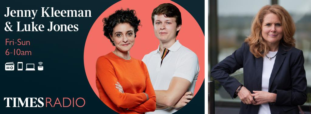 Promotional graphic for Jenny Kleeman's and Luke Jones' show on Times Radio Breakfast - with photo of lawyer Georgina Calvert-Lee.