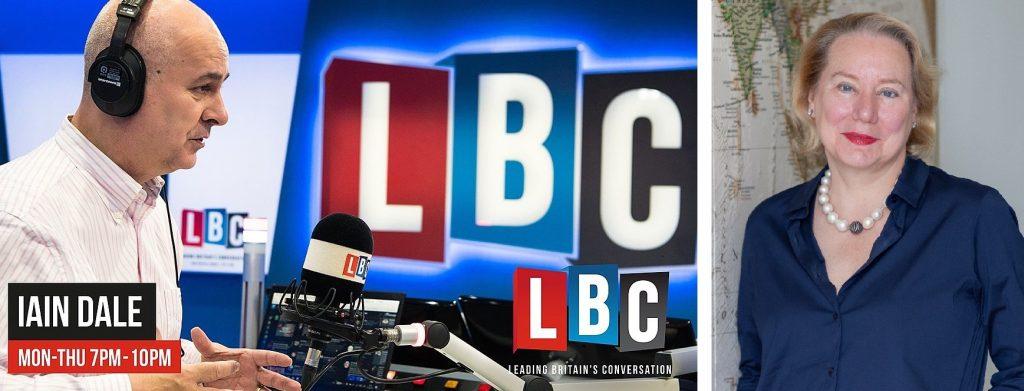 Graphic of the Iain Dale show on LBC alongside headshot of Dr. Olivarius.