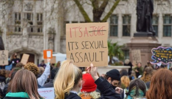 Photo of protest against sexual assault.