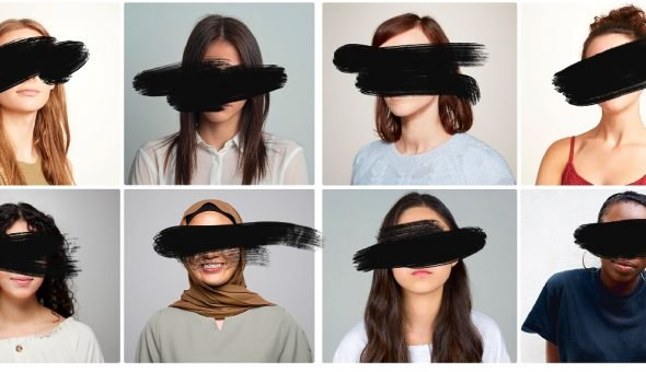 Graphic of women's headshots scribbled out.