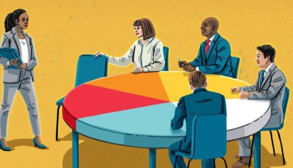 Graphic of conference room with woman stood addressing table.