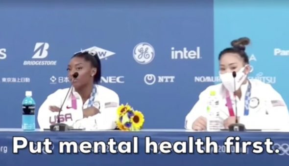 """Photo of USA gymnasts with caption """"Put mental health first."""" Taken from Boss Betty article."""