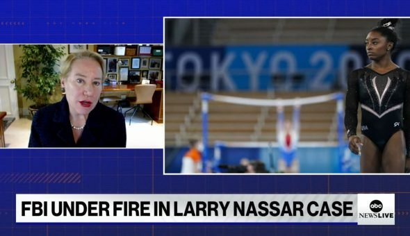Still of Dr. Ann Olivarius's interview on ABC News on the FBI's failure in the Larry Nassar investigations.